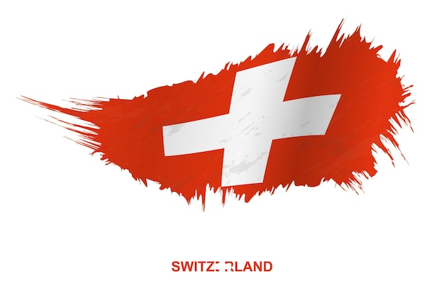 Flag of switzerland in grunge style with waving effect, vector grunge brush stroke flag.