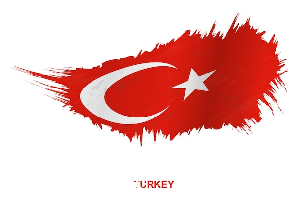 Flag of turkey in grunge style with waving effect, vector grunge brush stroke flag.