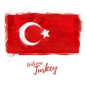 Flag of turkey with the decoration of the national color. style watercolor drawing. turkish flag with national symbol. .