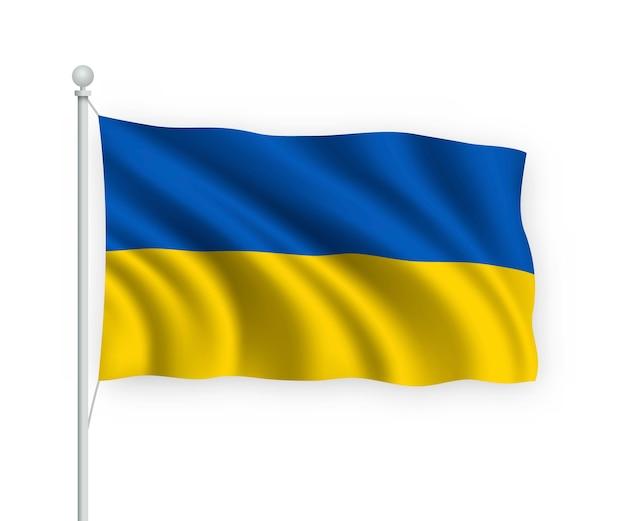 Флаг украины на флагштоке изолированные на белом