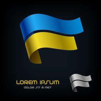 Flag of ukraine, ribbon logo.