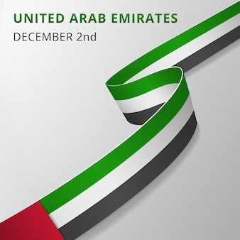 Flag of united arab emirates. 2nd of december. vector illustration. wavy ribbon on gray background. independence day. national symbol. graphic design template.