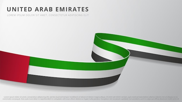 Flag of united arab emirates. realistic wavy ribbon with uae flag colors. graphic and web design template. national symbol. independence day poster. abstract background. vector illustration.