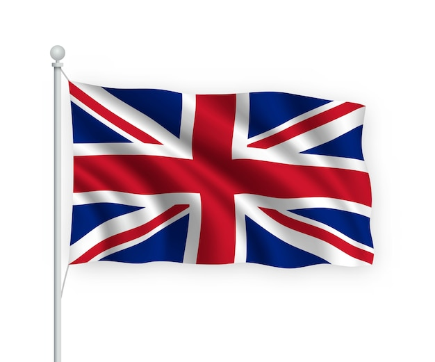 Flag united kingdom on flagpole isolated on white