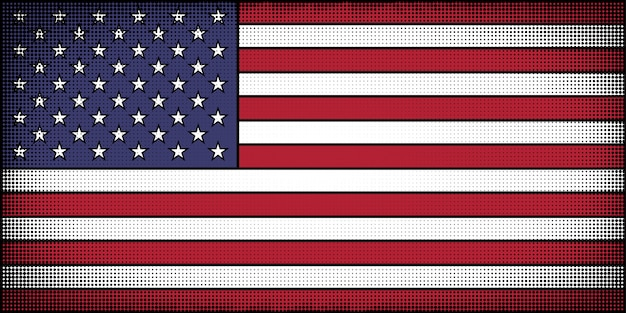 Flag of the united states in comic book cartoon style
