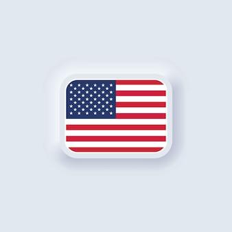 Flag of united states. national usa flag. american symbol. neumorphic ui ux