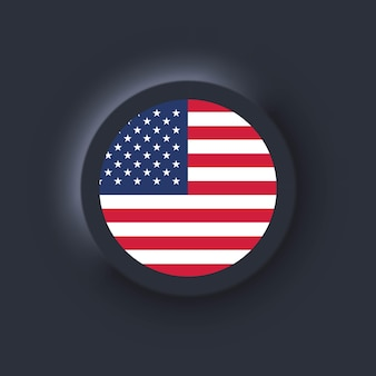 Flag of united states. national usa flag. american symbol.  simple icons with flags. neumorphic