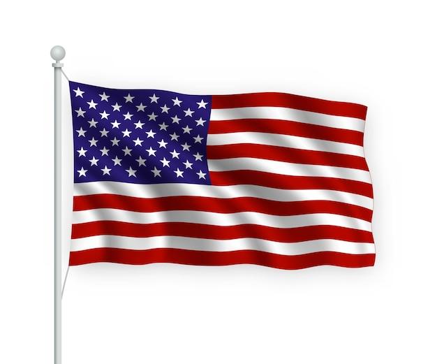 Флаг соединенных штатов на флагштоке изолированные на белом