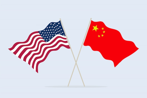 Flag of usa and china together. a symbol of friendship and cooperation of states.  illustration.