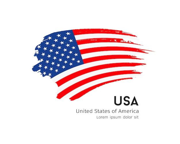 Flag of usa vector brush stroke design isolated on white background illustration