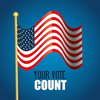 Flag usa your vote count graphic