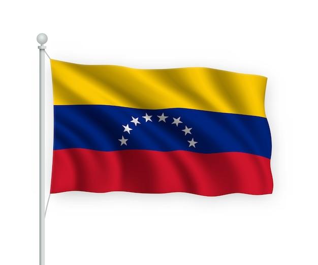 Флаг венесуэлы на флагштоке изолированного на белом