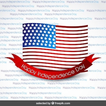 Flag with ribbon on independence day background