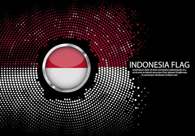 背景インドネシアflagのハーフトーングラデーションテンプレート。