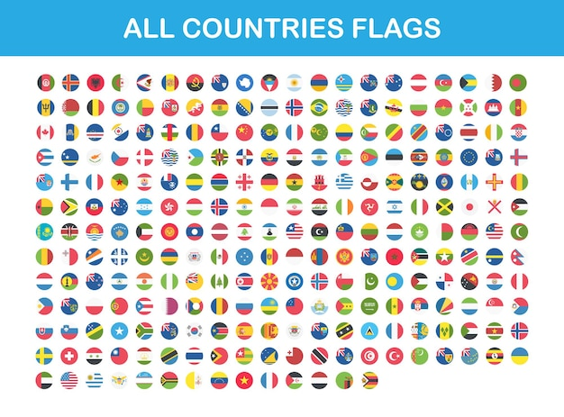 Flags of all countries round web buttons in flat. vector eps 10