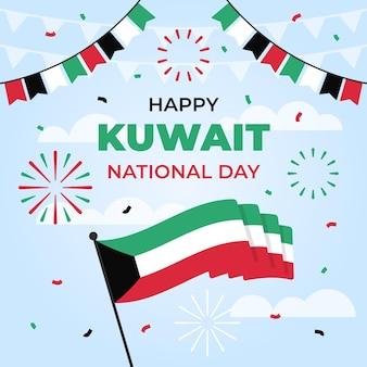 旗と紙吹雪フラットデザインクウェート建国記念日