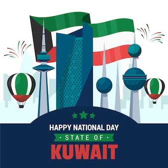 Flags and buildings flat design kuwait national day