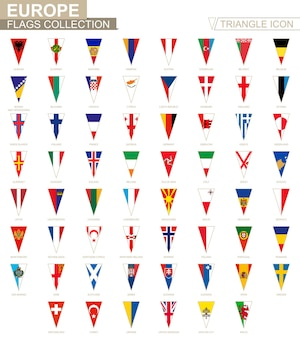 Flags of europe, all european flags. triangle icon.