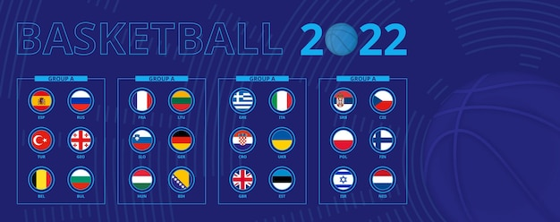 Flags of european basketball tournament qualification, sorted by group. flag set.