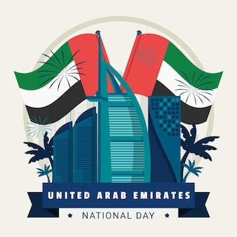 Flags and fireworksunited arab emirates day