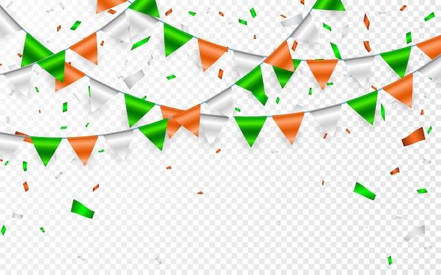 화환을 성 패트릭의 날로 지정합니다. 플래그 갈 랜드와 파티 배경입니다. 주황색 흰색 녹색 깃발과 호일 색종이의 화환.