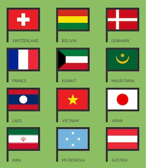 Флаги ирана, дании, японии, франции, австрии, швейцарии, кувейта, микронезии, лаоса, мавритании, вьетнама, боливии.
