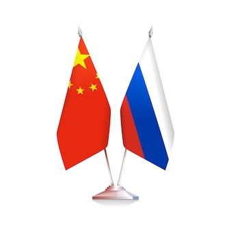 ロシアと中国の旗は白い背景で隔離。ベクトルイラスト