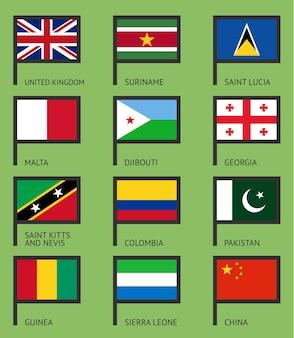Флаги грузии, суринама, колумбии, сент-люсии, пакистана, джибути, китая, сьерра-леоне, великобритании, мальты, гвинеи, сент-китс и невис.