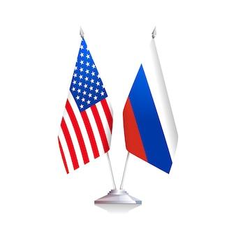 アメリカとロシアの旗は白い背景で隔離。ベクトルイラスト