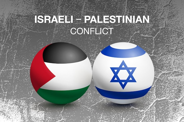 Flags of palestine and israel in the form of a ball. conflict concept. vector illustration with grunge background