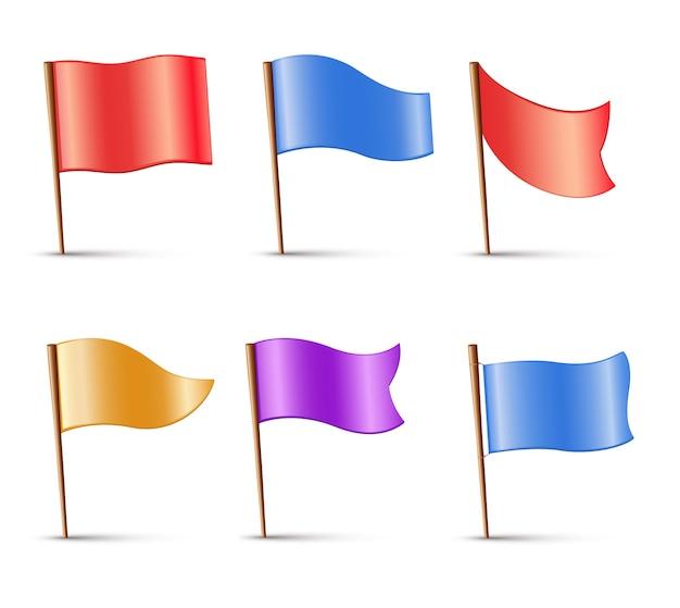 Флаги, набор разноцветных значков
