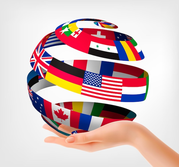 Flags of the world on a globe, held in hand.  illustration.