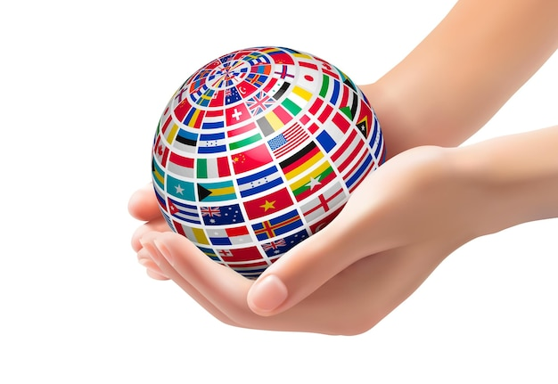 Flags of the world on a globe, held in hands.  illustration.
