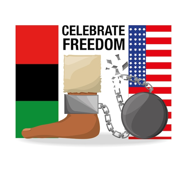 Flah and chain in the foot to celebrate freedom