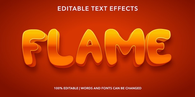 Flame 3d style editable text effect