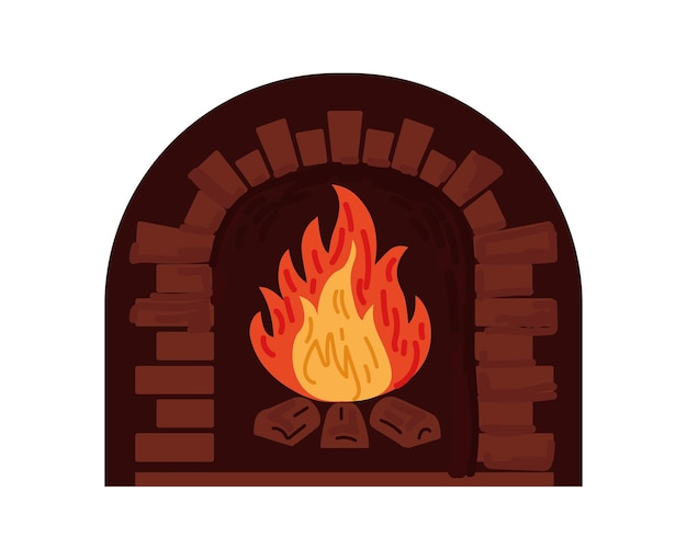 Flame in brick fireplace firewood burning in furnace home interior heat object drawing vector