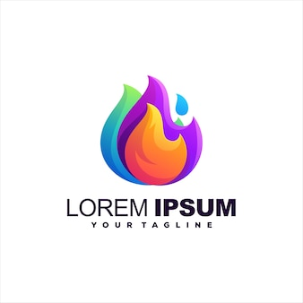 Flame color gradient logo design