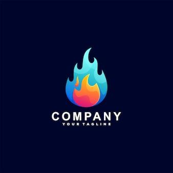 炎色のグラデーションロゴデザイン