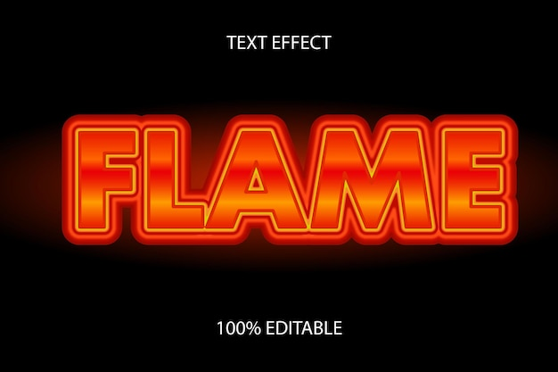 불꽃 색 빨간색 주황색 편집 가능한 텍스트 효과