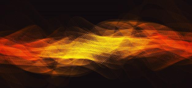 Flame digital sound wave on brown background