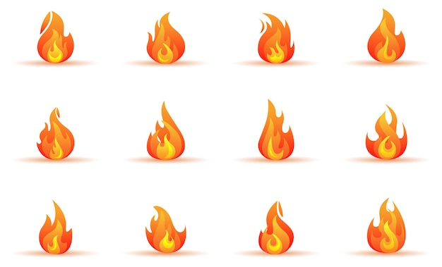 Flame forms and icons isolated