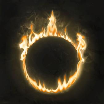 炎のフレーム、円の形、リアルな燃える火のベクトル