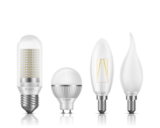 Flame, globe, tubular, candle shapes light led bulbs with different types