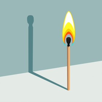 Flame has no shadow. illustration of burning match and its shadow
