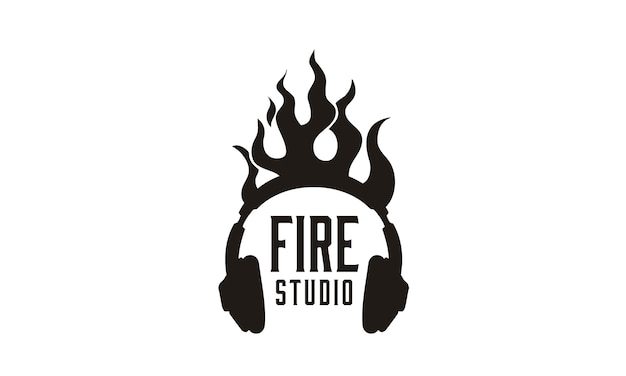 Flame headphone logo design inspiration
