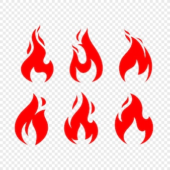 Flame icons vector collection isolated