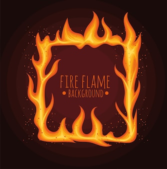 Flame lettering in square
