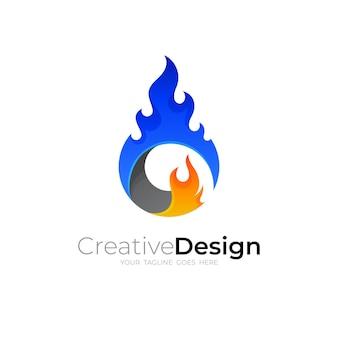 炎のロゴのデザイン、カラフルなアイコン、火のロゴ