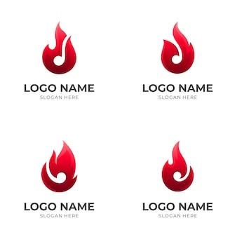 炎のロゴ、火と音符、3d赤との組み合わせのロゴ