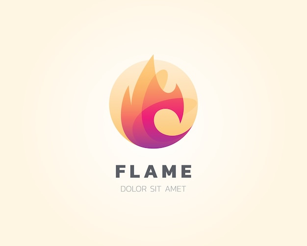 Flame logo. simple blending flame fire logo icon